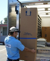 LG moving water softeners off trucks