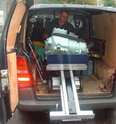 LE moving compressor out of van