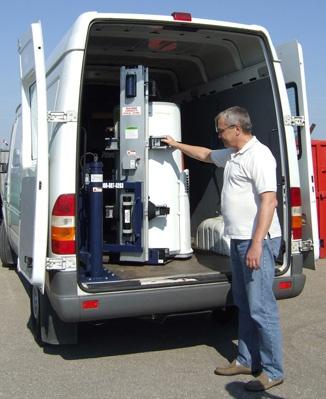 PowerMate LG Hot Water Tank into Van